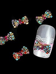 10pcs colorfull strass papillon decorazione punte delle dita accessori in lega nail art