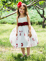 Ball Gown Tea Length Flower Girl Dress - Polyester Sleeveless Square Neck with Flower