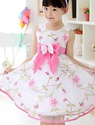 cheap -Girl's Floral Dress, Cotton Summer Sleeveless Pink