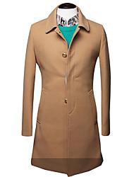 Недорогие -Муж. Пальто Классический и неустаревающий-Сплошной цвет Классический