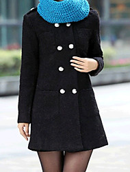 meados de longo casaco de tweed da Yinbo mulheres