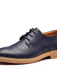 Men's Shoes Leather Spring Summer Fall Winter Comfort Oxfords Lace-up For Casual Office & Career Black Brown Blue Yellow