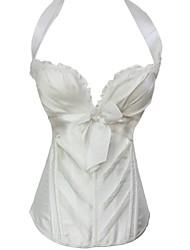 Women Overbust Corset Nightwear Solid Polyester / Spandex White / Black Women's