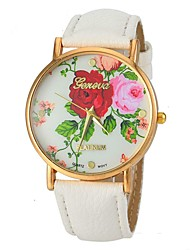 cheap -Women's Wrist Watch PU Band Flower / Fashion Black / White / Blue