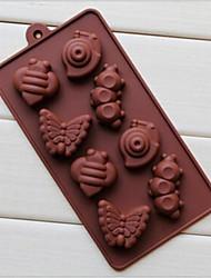 8 furos moldes forma de caracol lagarta bolo de gelo geléia de chocolate, silicone 19,2 × 10,6 × 2 cm (7,6 × 4,2 × 0,8 cm)