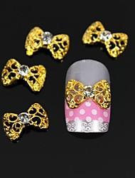 10pcs de ouro gravata borboleta oco 3d diy liga de nail art decoração