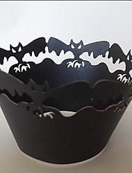 Halloween Bat Cupcake Wrapper,Laser Cut,Party Favor Decoration 60pcs