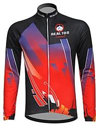 Realtoo Cyklo bunda Pánské Dlouhé rukávy Jezdit na kole Dres Vrchní část oděvu Zahřívací Zateplená podšívka Prodyšnéelastan Polyester