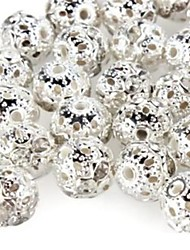 cheap -DIY Hollow Spherical-Shaped With Artificial Diamond Silver Plated Spacer Beads (10Pcs)