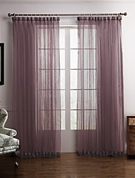 cheap -Rod Pocket Grommet Top Tab Top Double Pleat Two Panels Curtain Modern Bedroom Polyester Material Sheer Curtains Shades Home Decoration