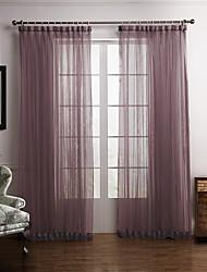 baratos -Barra no Interior Anéis Presilhas Duplo Plissado Dois Painéis Tratamento janela Modern Quarto Poliéster Material Sheer Curtains Shades