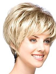 Недорогие -легкие золотые прямые короткие синтетические парики микс женщины