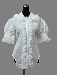 cheap -Blouse/Shirt Sweet Lolita Lolita Cosplay Lolita Dress Solid Short Sleeve Lolita Blouse For Cotton
