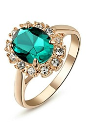 cheap -18K Rose Gold Plated Emerald Green/Blue/Red Ring Elegant Jewelry CZ Diamond Austrian Crystal Stellux