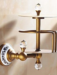 cheap -1pc Removable Antique Brass Crystal Ceramic Toilet Paper Holder