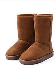 Žene Cipele Umjetna koža Zima Jesen Ravna potpetica 20.32 cm-25.4 cm Čizme do pola lista za Kauzalni Ured i karijera Preplanulost Crna