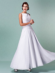 cheap -A-Line Bateau Neck Ankle Length All Over Lace Made-To-Measure Wedding Dresses with Ruched by LAN TING BRIDE® / Little White Dress