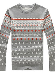 Men's Printed Round Collar Knit Sweater