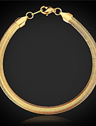 U7® Top Quality 18K Chunky Gold Plated Snake Chain Bracelet for Men or Women with 18KGP Stamp 5MM 20CM