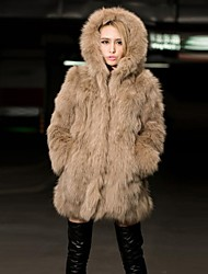cheap -Women's Daily Street chic Winter Fur Coat,Solid Hooded Long Sleeve Long Faux Fur