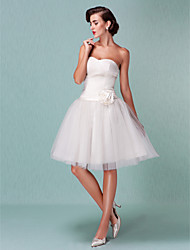 Ball Gown Sweetheart Knee Length Tulle Wedding Dress with Sash / Ribbon Criss-Cross Flower by LAN TING BRIDE®