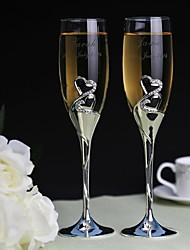 Personalized Toasting Flutes Diamond  Heart to Heart- Set of 2
