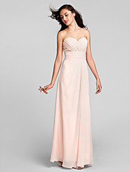 Sheath / Column Sweetheart Floor Length Chiffon Bridesmaid Dress with Criss Cross Ruching by LAN TING BRIDE®