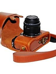dengpin® Leder Kamera Tasche Tasche Abdeckung mit Schultergurt Öl Haut für Olympus PEN E-p5 14-42mm Objektiv
