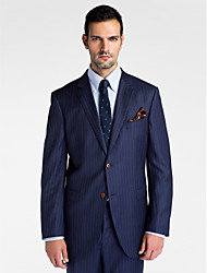cheap -Stripes Tailored Fit Wool Polyester Suit - Slim Notch Single Breasted Two-buttons