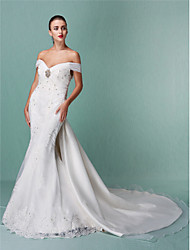 Mermaid / Trumpet Off-the-shoulder Chapel Train Organza Wedding Dress with Beading Appliques by LAN TING BRIDE®