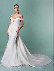 Sirena / tromba abito da sposa in organza del treno della cappella spalla con appliques perline da lan ting bride®