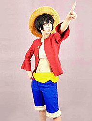 Ispirato da One Piece Monkey D. Luffy Anime Costumi Cosplay Abiti Cosplay Collage Top Cintura Pantaloncini Per Uomo Donna