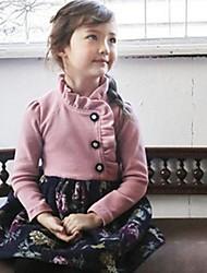 povoljno -Djevojka je Pamuk Cvjetni print Zima Proljeće Jesen Dugih rukava Haljina Pink Navy Plava