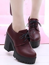 cheap -Women's Spring Fall Platform Leatherette Dress Chunky Heel Platform Lace-up Black Burgundy