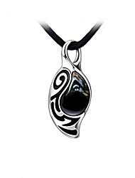 cheap -Stainless Steel With Black Agate Stone Men's Necklace Elegant Style