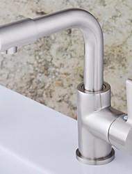 Moderne Centersat Keramik Ventil Et Hul Enkelt håndtag Et Hul for  Nikkel Børstet , Håndvasken vandhane