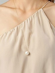cheap -Women's Pearl Pendant Necklace / Pearl Necklace  -  Pearl, Imitation Pearl Simple Style Pearl White Necklace For Daily