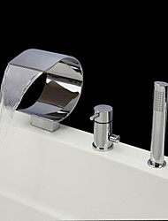 Contemporary Tub And Shower Waterfall Handshower Included with  Ceramic Valve Three Holes Single Handle Three Holes for  Chrome , Bathtub