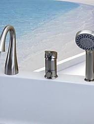 abordables -Robinet de baignoire - Moderne Nickel brossé Baignoire et douche Soupape céramique / Mitigeur Trois trous