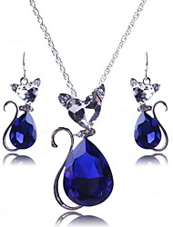 Women's Europe All Match Crystal Cat Jewelry Set(Including Necklaces Earrings)