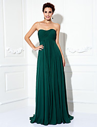 A-Line Princess Strapless Sweep / Brush Train Chiffon Prom Dress with Draping by TS Couture®