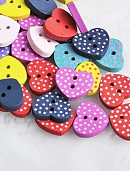 Dot Heart Shaped Scrapbook Scraft Sewing DIY Wooden Buttons(10 PCS Random Color)