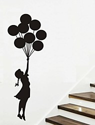 abordables -Wall Stickers Wall Decals, Balloon Girl Nursery Home Decor Mural PVC Wall Stickers