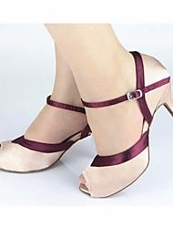 Damen Latin Satin Sandalen Verschlussschnalle Maßgefertigter Absatz Maßfertigung