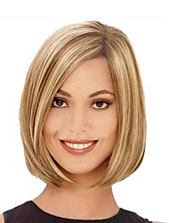 cheap -Synthetic Wig Bob Haircut Synthetic Hair Highlighted / Balayage Hair / Side Part Blonde Wig Black Wig / Halloween Wig / Carnival Wig Party