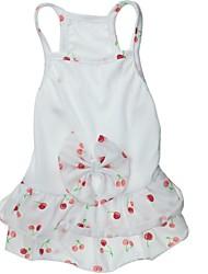 abordables -Chat Chien Robe Vêtements pour Chien Fruit Nœud papillon Blanc Coton Costume Pour les animaux domestiques Mariage