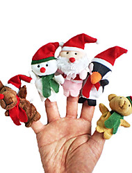 cheap -Christmas Santa Suits Elk Snowman Finger Puppets Animal Talking Cartoon Textile Plush Girls' Gift 5pcs