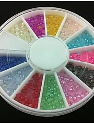 abordables -Demi-cercle 2mm perle colorée nail art décorations