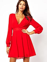 Недорогие -v шеи платье западный стиль одежды aosishan женщин