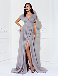 cheap -Sheath / Column V Neck Sweep / Brush Train Chiffon Formal Evening / Black Tie Gala / Military Ball Dress with Draping Pleats Ruched Split